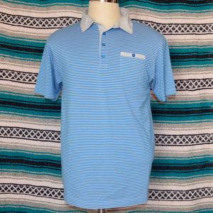 Travis Mathew Polo Blue Striped Large